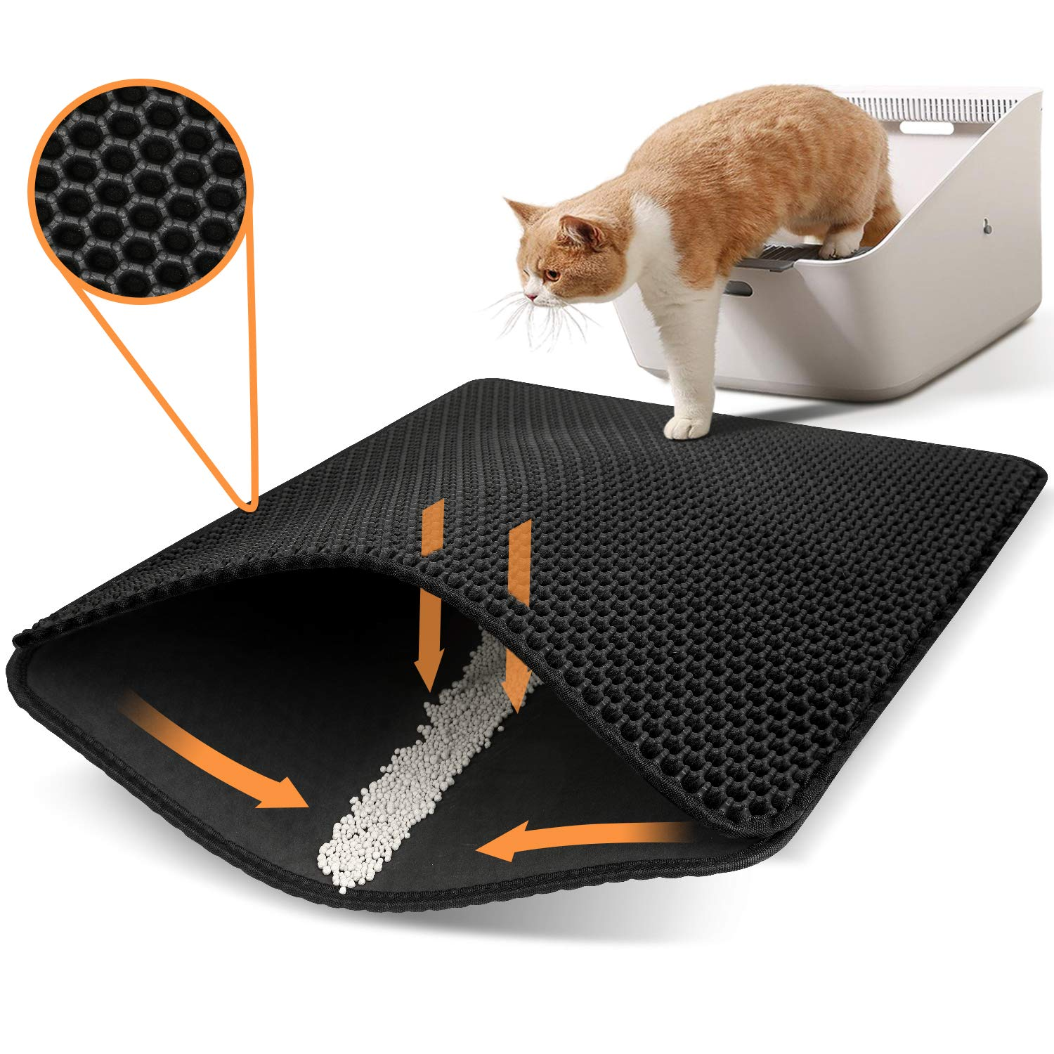 Polarduck Cat Litter Mat Cat Litter Trapping Mat, Honeycomb Double Layer Design, Urine and Water Proof Material, Scatter Control, Special Side Handles Design Easier to Clean,Washable
