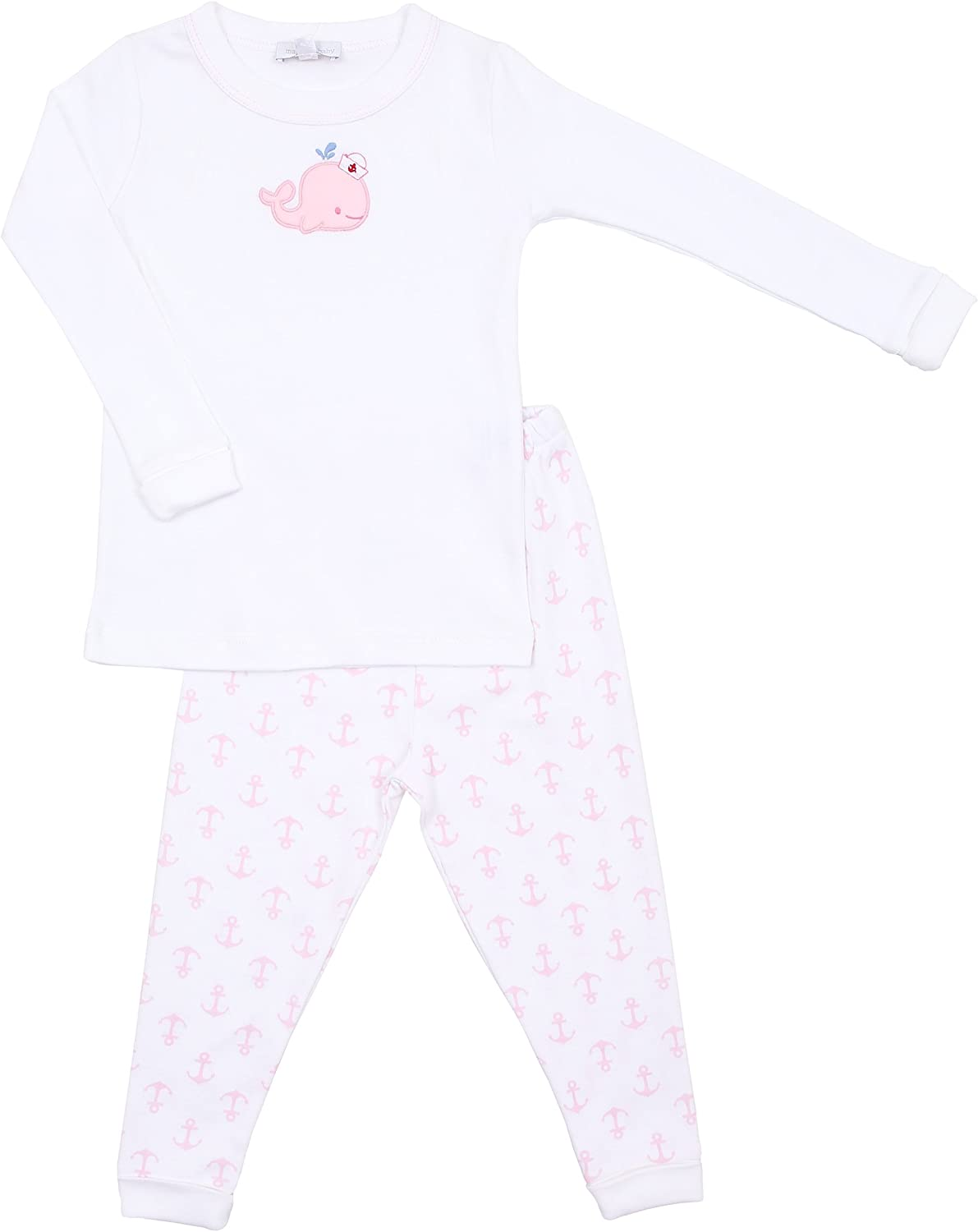 Magnolia Baby Baby Girl Little Whales Applique Long Pajamas Pink