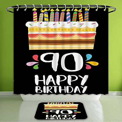 Waterproof Shower Curtain And Bath Rug Set 90Th Birthday Decorations Colorful Party Up On Black