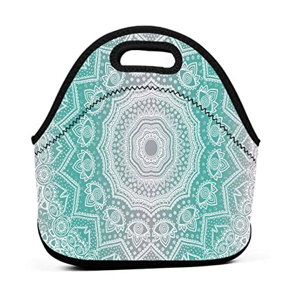 42fcc8ccbd1f Amazon.com: AUGUSTD Grey and Turquoise Mandala Insulated Neoprene ...