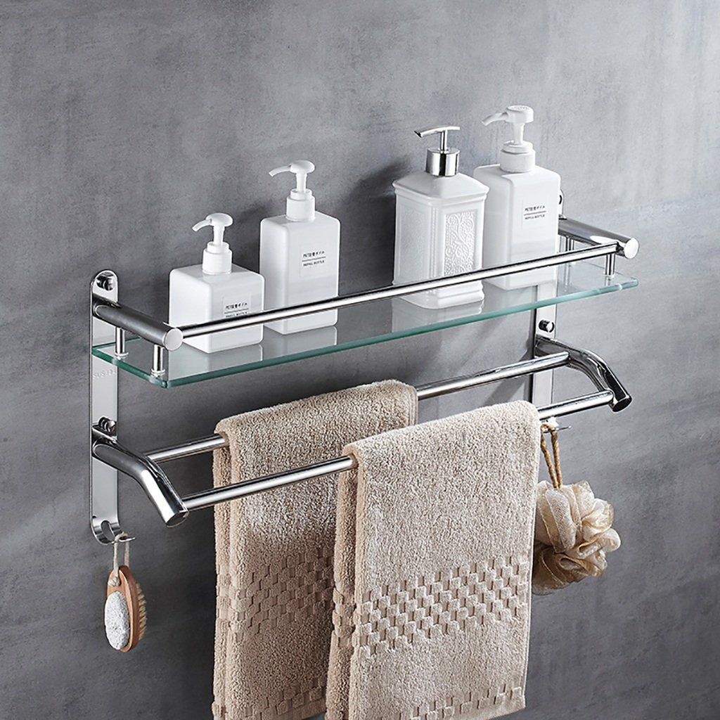 60CM Bathroom Shelf 304 Stainless Steel Bathroom Shelf Bathroom Glass Shelf Bathroom Wall-Mounted Toilet Single-Layer Mirror Front Frame (color   60CM)