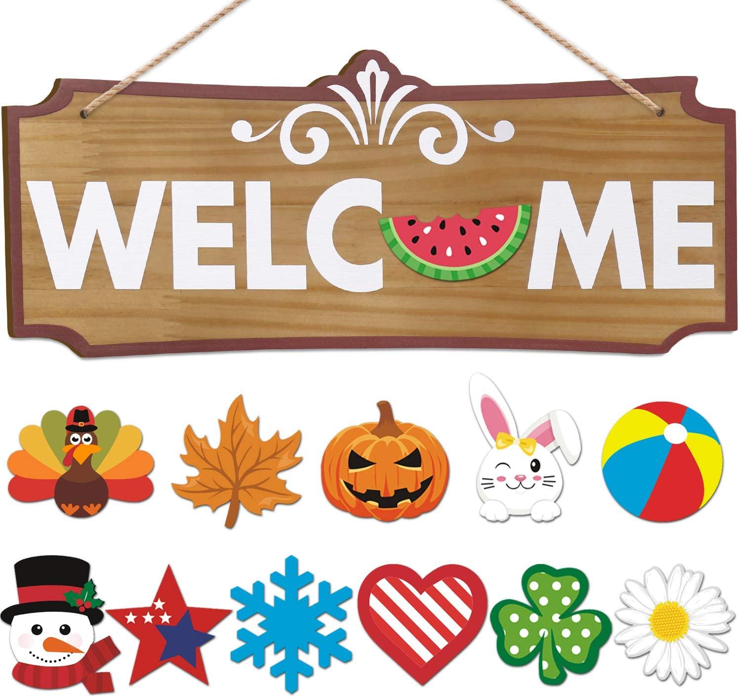 Interchangeable Welcome Sign Seasonal Festival Holiday Welcome Wood Sign for Front Door Decor Wall Hanging Decorations Porch Decorations for Home Spring Summer Fall Winter Decorations