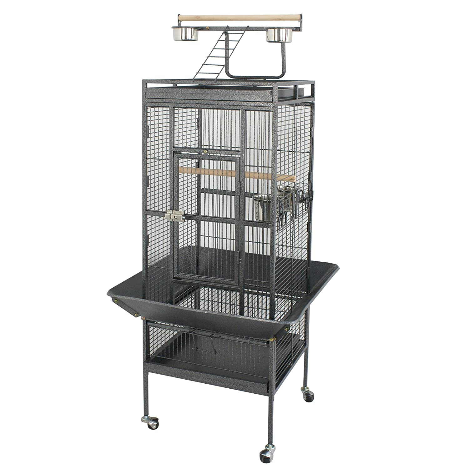 Black SUPER DEAL PRO 61// 68/'/' 2in1 Large Bird Cage with Rolling Stand Parrot Chinchilla Finch Cage Macaw Conure Cockatiel Cockatoo Pet House Wrought Iron Birdcage