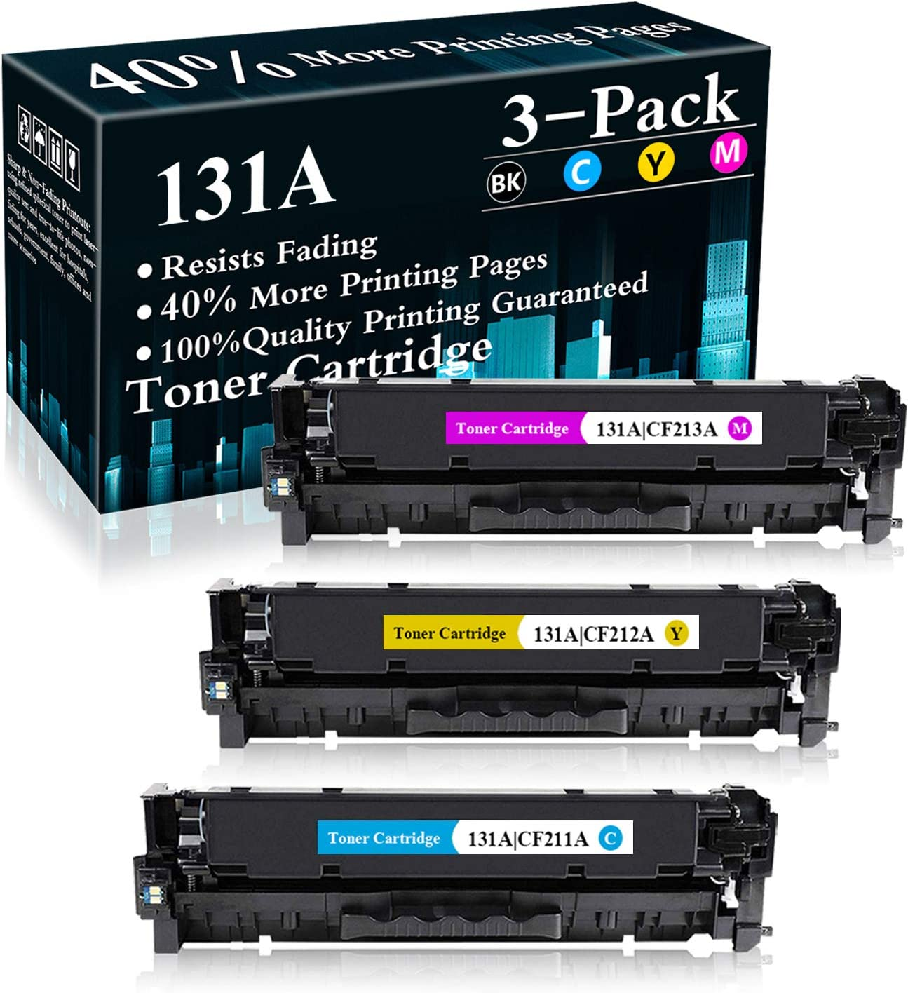 3 Pack (C/M/Y) 131A | CF211A CF212A CF213A Remanufactured Toner Cartridge Replacement for HP Color Laserjet Pro M251n(CF146A) M251nw(CF147A) M276n(CF144A) M276nw(CF145A) Printer,Sold by TopInk