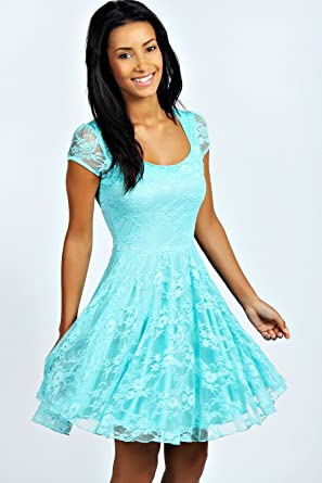 Womens Kylie Off The Shoulder Netted Prom Dress - 8 - Turquoise