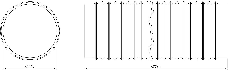 Tubo de salida de aire de PVC de 125 mm de diámetro, 6 m de largo, para aire acondicionado, secadora, campana extractora: Amazon.es: Bricolaje y herramientas