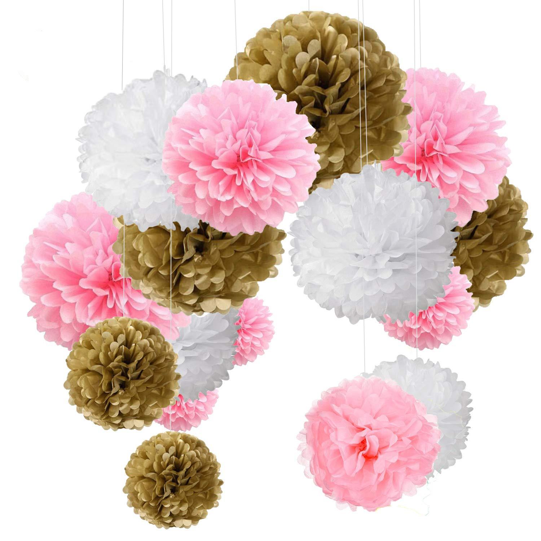 15pcs Pompom Decorations Tissue Pom Poms Paper Flower Ball for Wedding Festival Party Gold Pink White(30.5cm/25cm/15.5cm) MAKFORT