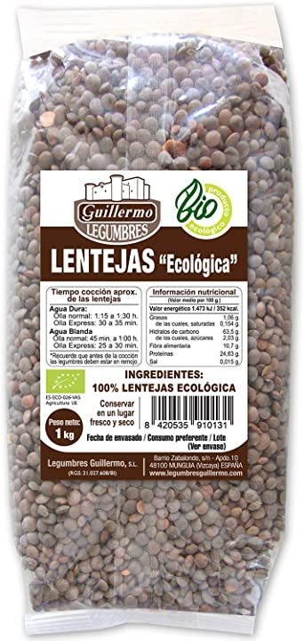 Guillermo Lentejas Ecológicas BIO 100% Natural Orgáncia 1KG ...