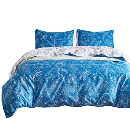 Amazon Com Omelas 3 Pcs Moddern Sea Blue White Patterned Duvet