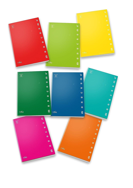 Pigna Monocromo 02298885M, Quaderno formato A4, Rigatura 5M, quadretti 5 mm per 2° e 3° elementare, Carta 100g/mq, Pacco da 10 Pezzi Cartiere Paolo Pigna S.p.A.