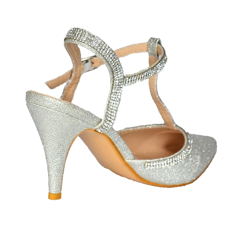 Size 3-8 Glitz Ladies Diamante Mid Heel Sandals Evening Shoes,Sparkly Rhinestone Embellished