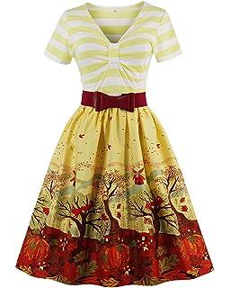 ZAFUL Mujer Vintage Vestido Años 50s Audrey Vestido de Fiesta Cóctel Falda Plisada Retro Rockabilly A