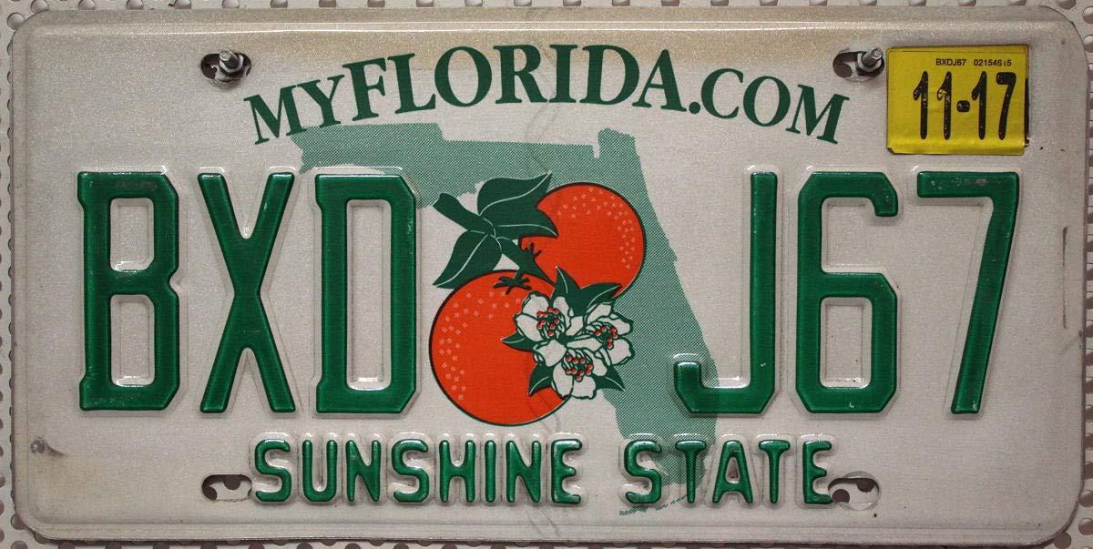 USA Nummernschild FLORIDA /°/° SUNSHINE STATE /°/° US Kennzeichen Motiv ORANGEN