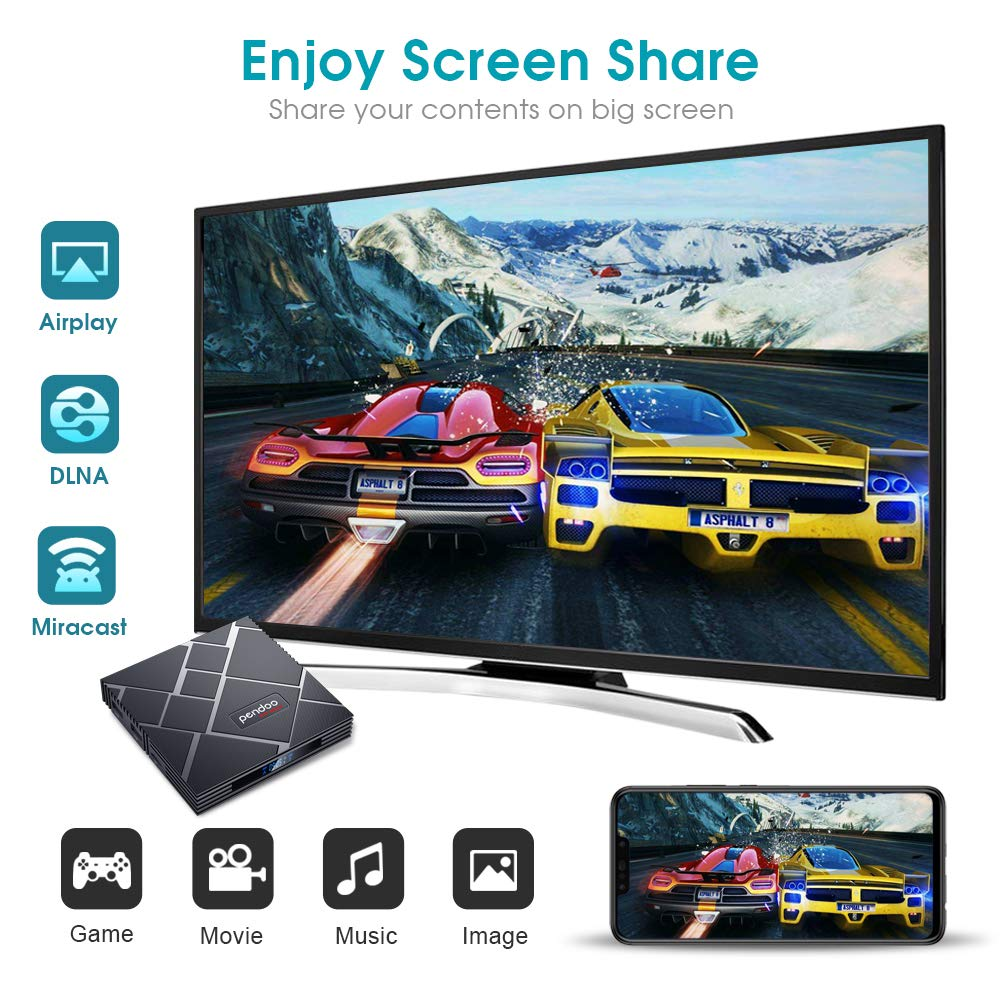pendoo Android 90 TV Box 4GB RAM 64GB ROM X10 MAX Android TV Box RK3318 QuadCore 64Bits Dual WiFi