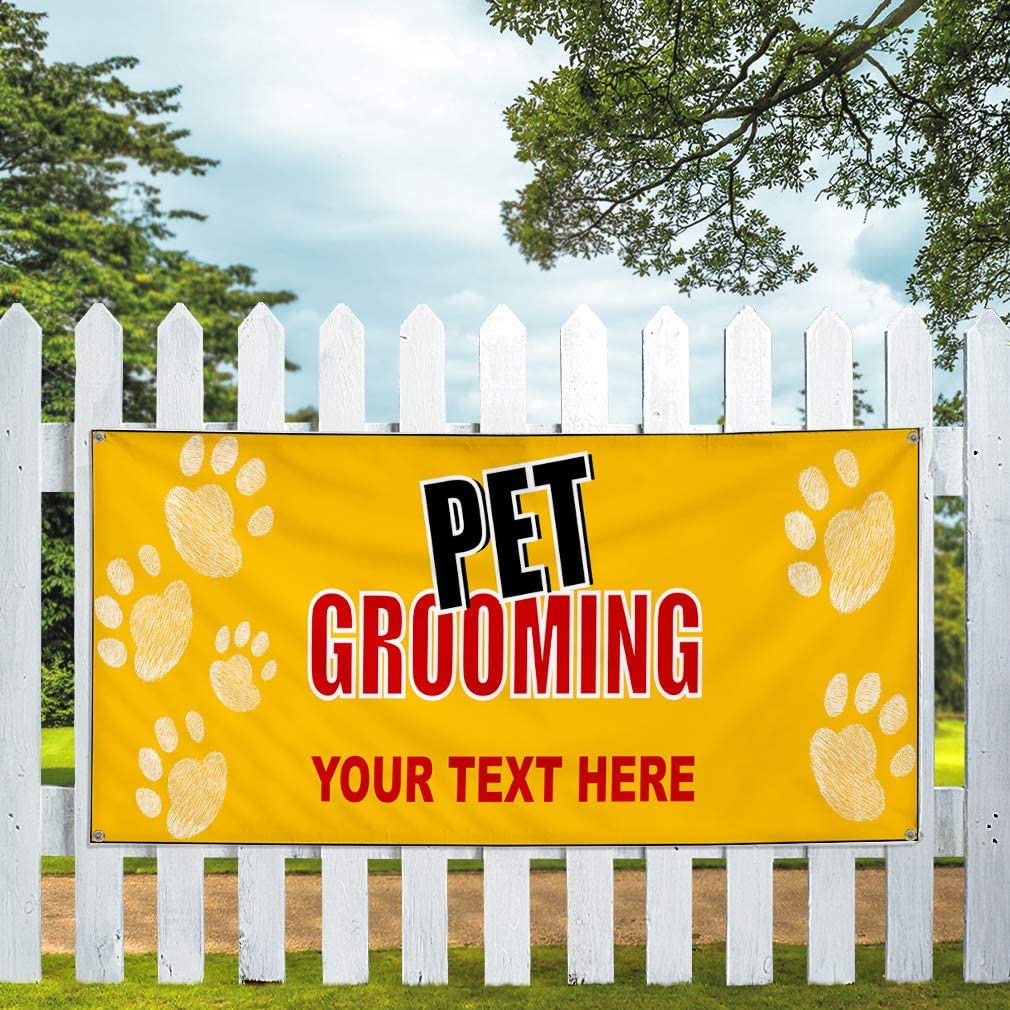Custom Industrial Vinyl Banner Multiple Sizes Pet Grooming Style B Personalized Text Here Business Outdoor Weatherproof Yard Signs Yellow 10 Grommets 48x120Inches