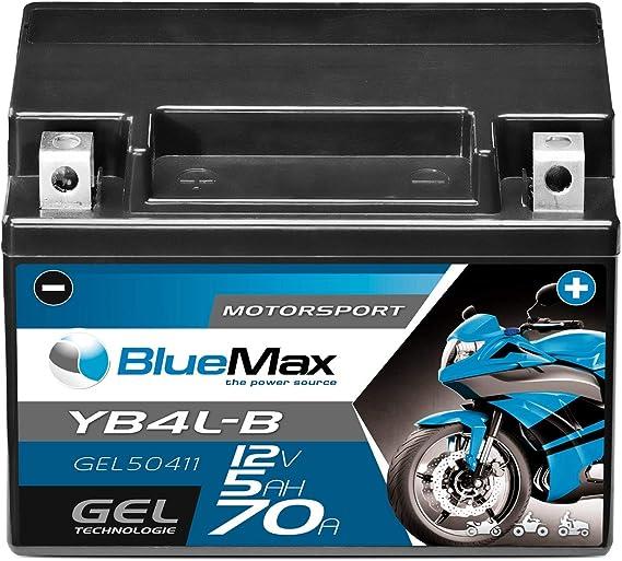 Bluemax Yb4l B Motorradbatterie Gel 12v 5ah Cb4l B Batterie 50411 Ersetzt 4ah Auto