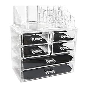 MORTHOME M Makeup Organizer, Make up Organizers, Cosmetics and Jewelry Storage Organizer Case Display Boxes (3306-2)