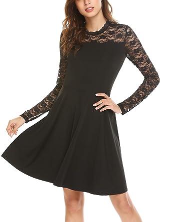 Parabler Damen Elegant Vintage Kleid Spitzenkleid Ballkleid Cocktailkleid  Festliches Kleid 3 4 Arm Party Kleid A line Knielang  Amazon.de  Bekleidung 2c13c242da