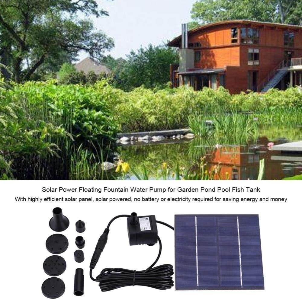 Zerodis Solar Springbrunnen Solarbetriebene Schwimmende Wasserpumpe Panel 1.2W f/ür Font/äne Gartenteich Springbrunnen Vogelbad Aquarium