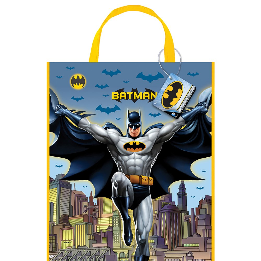 13'' x 11'' Large Plastic Batman Goodie Bags, 12ct by Unique