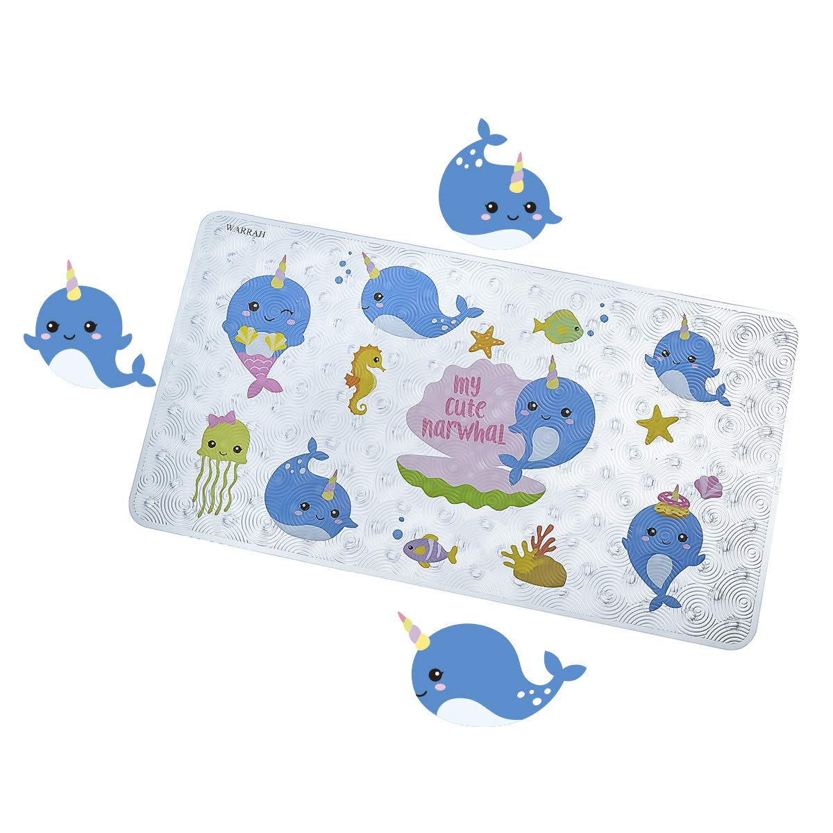B07R6K6RVC WARRAH Non Slip Baby Bath Mat for Kids and Toddler - Slip Resistant Square Bath Mats for Tub and Bathroom Floor Shower - No Slip Bathtub Matts for Kids (Blue Whale FHD-04) 71r7l7dynWL