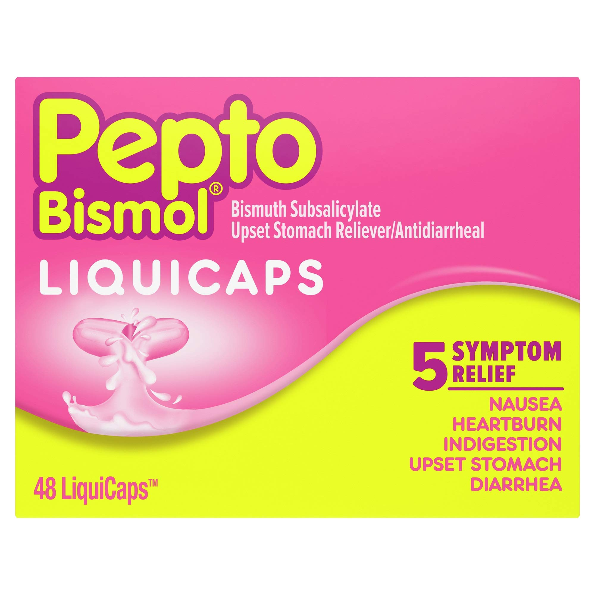 Pepto Bismol Liquicaps, Upset Stomach Relief, Bismuth Subsalicylate, Multi-Symptom Relief of Gas, Nausea, Heartburn, Indigestion, Upset Stomach, Diarrhea, 48 Liquicaps