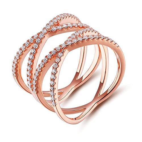 Swarovski Crystals Criss Cross Ring Rose Gold Her Jewellery