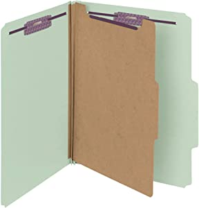 """Smead Pressboard Classification File Folder with SafeSHIELD Fasteners, 1 Divider, 2"""" Expansion, Letter Size, Gray/Green, 10 per Box (13776)"""
