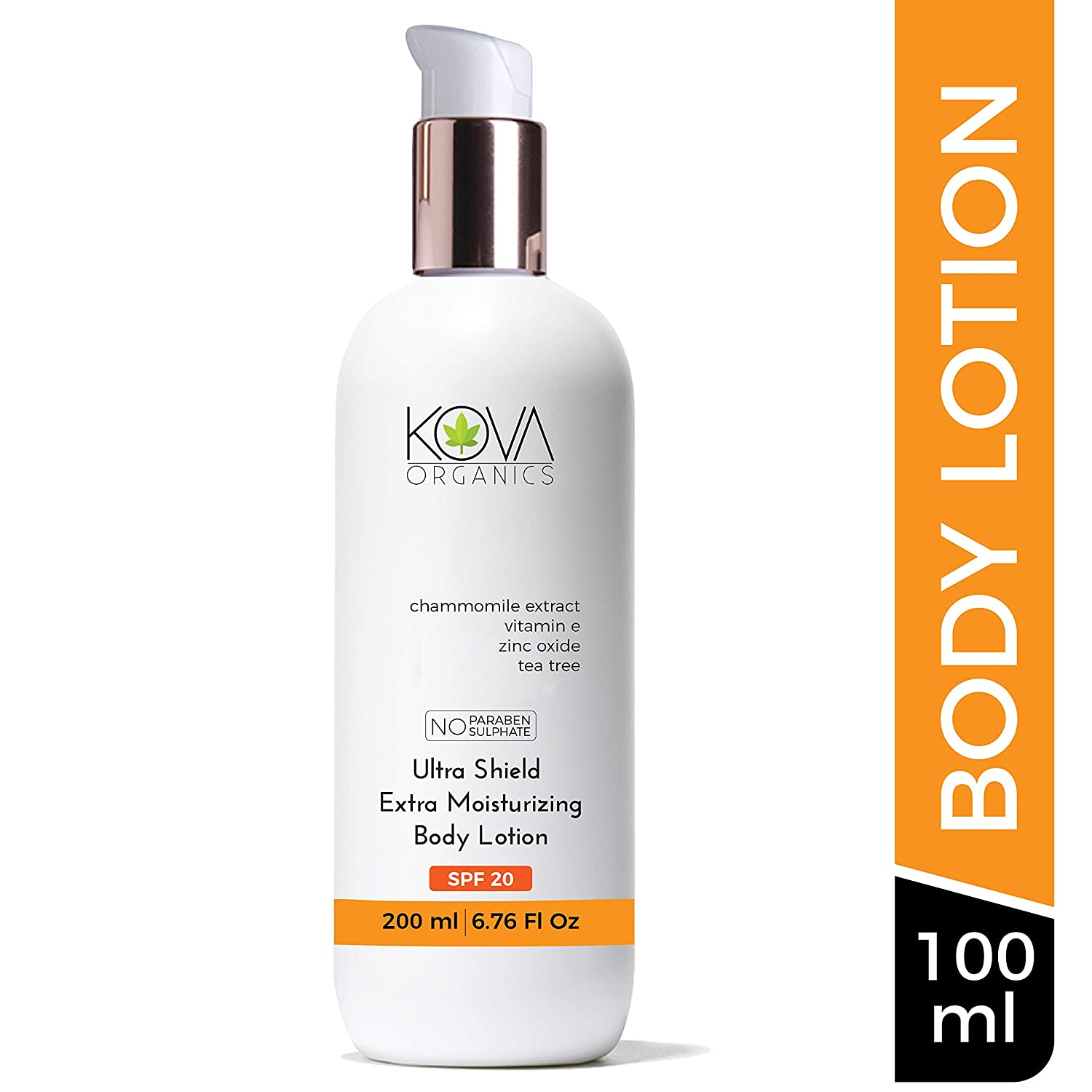 Kova Organics SPF 20 Body Lotion Ultra Shield Extra Moisturizing, Premium Non Sticky Body Lotion For Smooth and Radiant Skin, Fast Absorbing Body Lotion Gives All Day Moisture 200ml