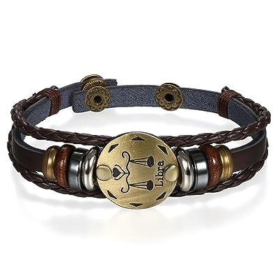 Femme Marron Alliage Fantaisie Bracelet Astrologique Réglable Homme Zodique Jewelrywe Pour Et Tressé Artisanal Bijoux Cuir Couleur Signe CeodWrQBxE