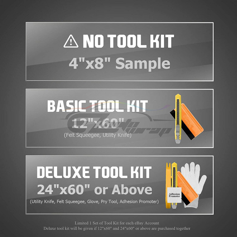 12X60 1FT X 5FT EZAUTOWRAP Free Tool Kit Premium Yellow 7D Carbon Fiber High Gloss Car Vinyl Wrap Sticker Decal Film Sheet Bubble Free Air Release Technology 6D
