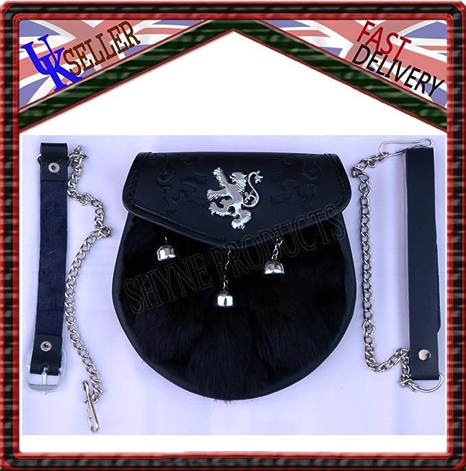 Lapin noir fourrure 3 Pompons Écossais Kilt Sporran libre en CUIR /& METAL Ceinture