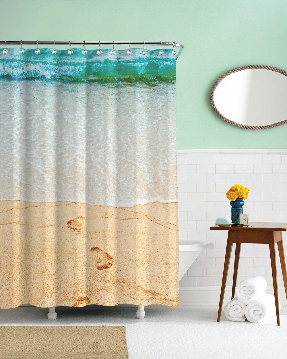 Gwein Beautiful Beach Conch Shower Curtain Polyester Fabric Mildew Proof Waterproof Cloth Room Decor