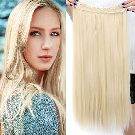 Extension Capelli Clip Biondi Fascia Unica Capelli Lunghi Lisci One Piece  Hair Extensions 5 Clips 3 49cd14d23cc0