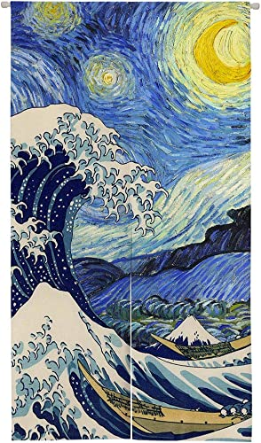 Ofat Home Japanese Artistic The Great Wave Starry Night Doorway Curtain 33.5 x 59 Blue Door Curtain Room Divider for Home Decor