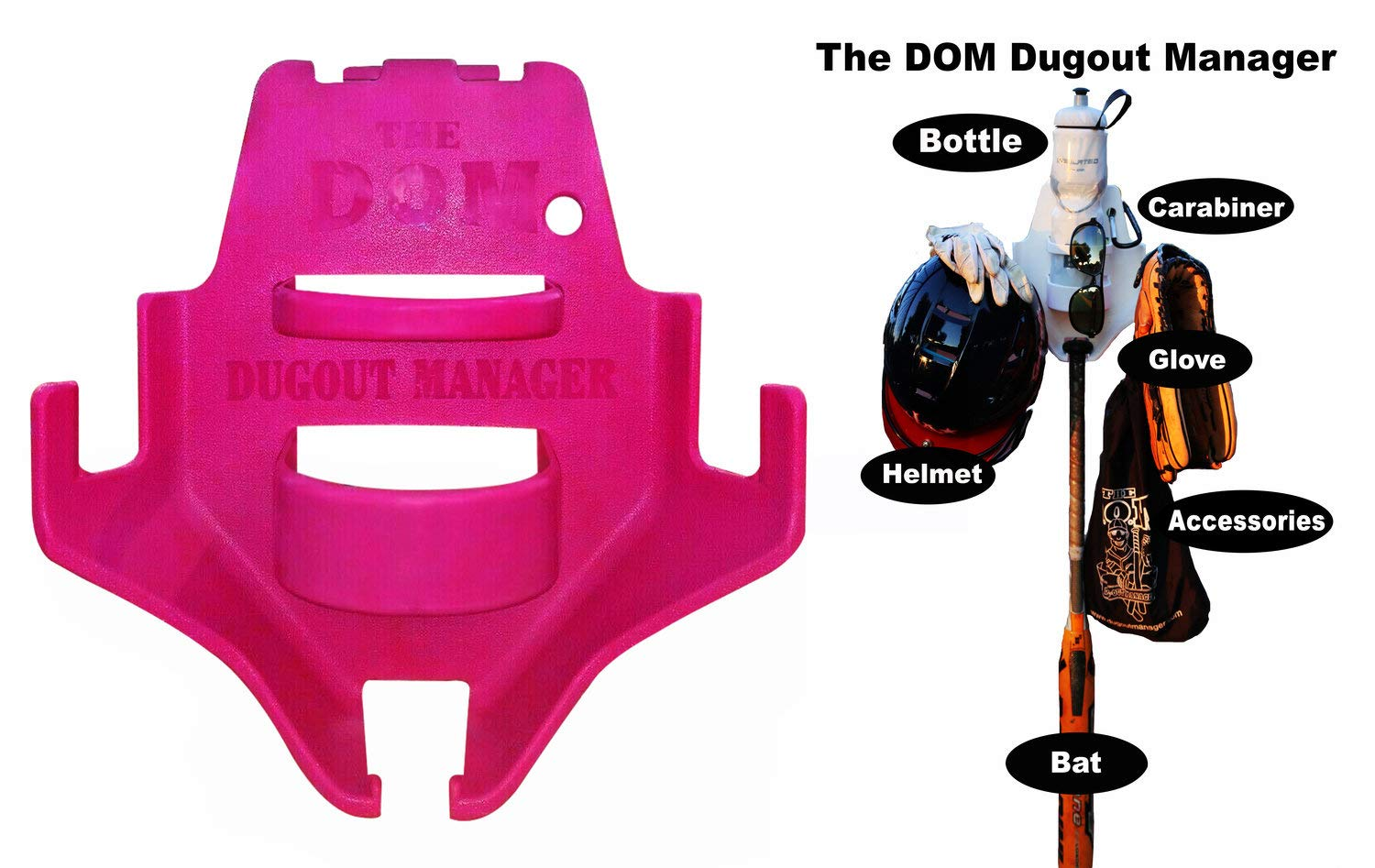 THE DOM Dugout Organizer for Softball & Baseball Gear Hanger for Bat, Glove, Helmet and Bottle of Water (13 Count) (Pink) by THE DOM