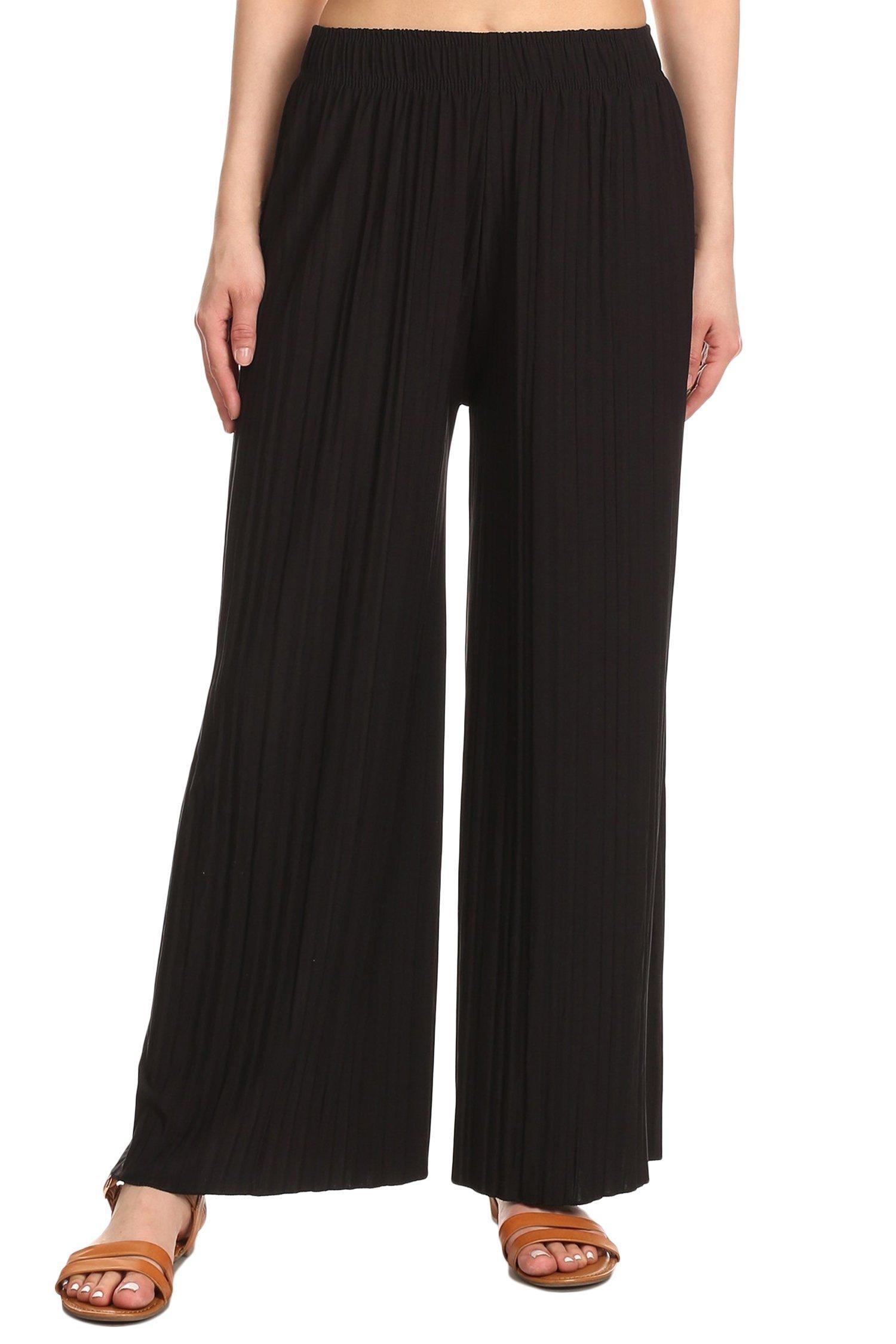 TL Women's Versatile Comfy Wide Leg Long Maternity Palazzo Gaucho Lounge Pants 014_Black OS