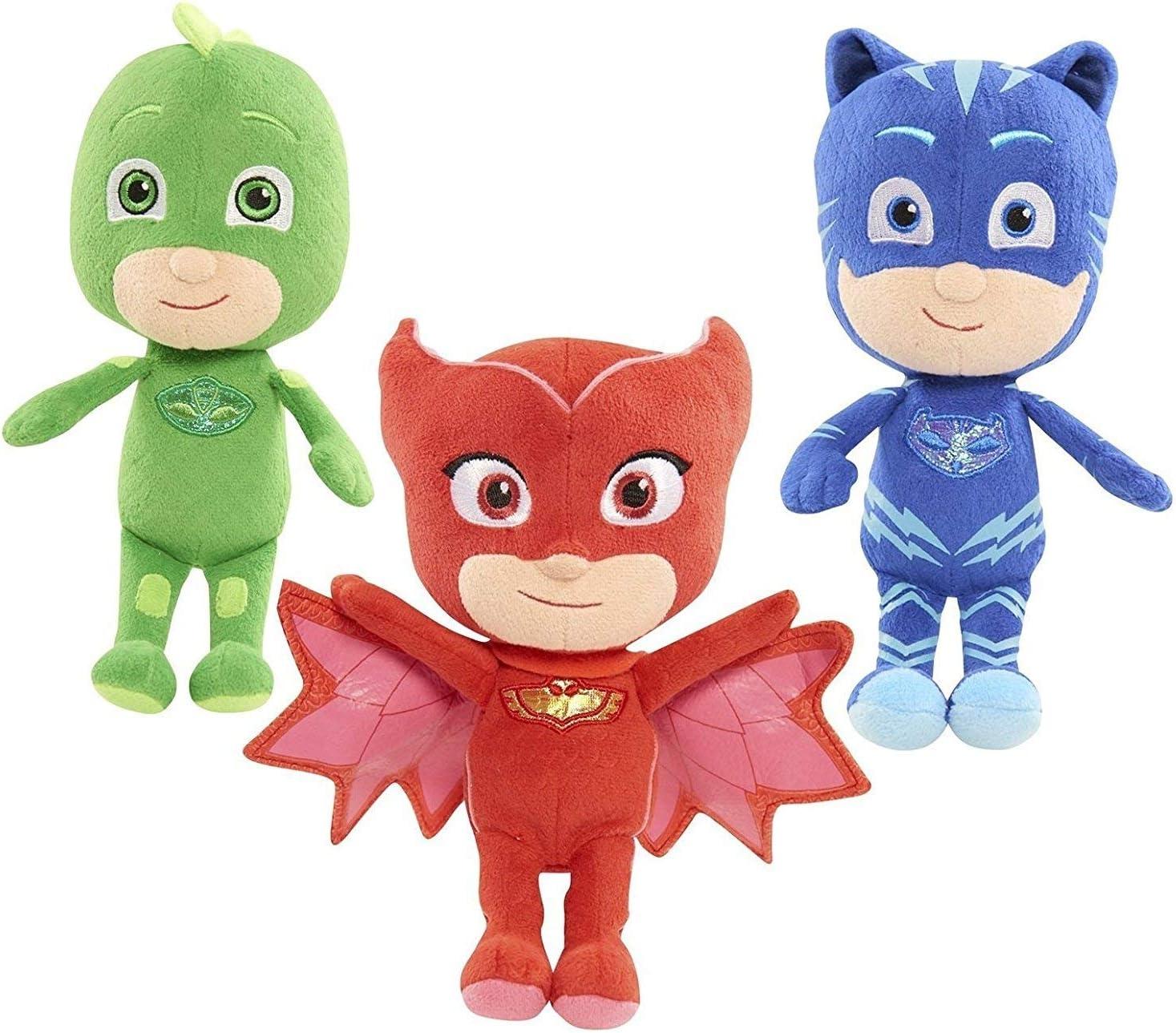 Gufetta Geco FROG BOX PJ Mask Set Completo 3 PELUCHE 20cm Personaggi SUPER PIGIAMINI Gattoboy
