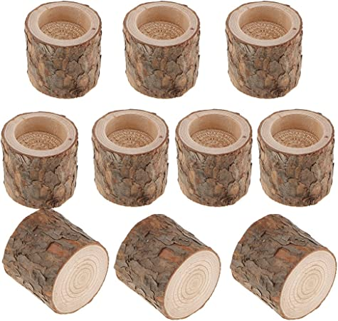 10x Natural Tree Stump Wooden Tealight Candle Holder for Wedding Party Decor