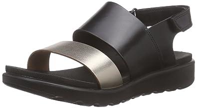 3a5bbbdc5c6c ECCO Girls FAY Wedge Heel Open Sandals Black Size  4.5 UK  Amazon.co ...