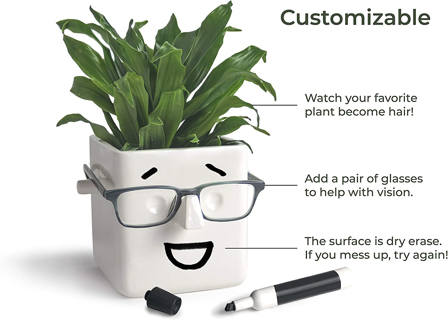 30 Watt | FACE Plant | Novelty Planter That Holds Plants, Glasses & You Can Draw On It. Elegant Ceramic Vase for Succulents, Cacti or Your Average Fern for Your Home | Back to College