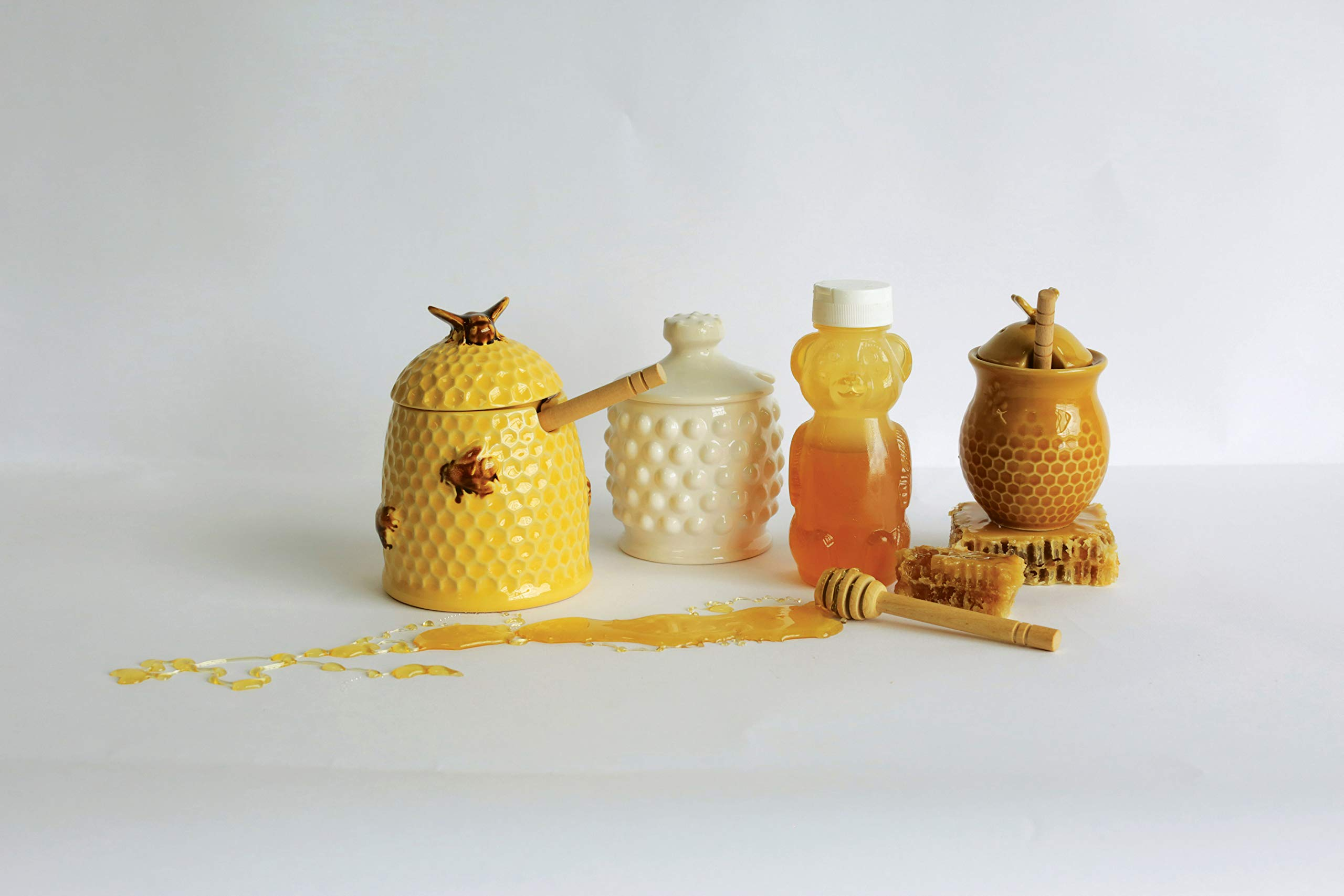 Creative Co-Op DA4847 White Ceramic Hobnail Style Honey Jar with Lid & Wood Dipper by Creative Co-op (Image #3)