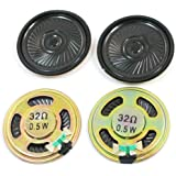 sourcingmap 4 Pcs 0.5W 32 Ohm 40mm Dia Round Metal Internal Magnet Mini Speaker