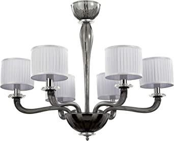 Murano Glass And Shades Chandelier Color Grey White Glass Modern Murano Chandelier Shades Grey Amazon Co Uk Lighting