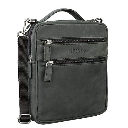STILORD 'Mats' Borsello uomo in pelle vintage Piccola borsa a tracolla per Tablet 9,7 pollici Borsetta A5 in cuoio, Colore:antracite
