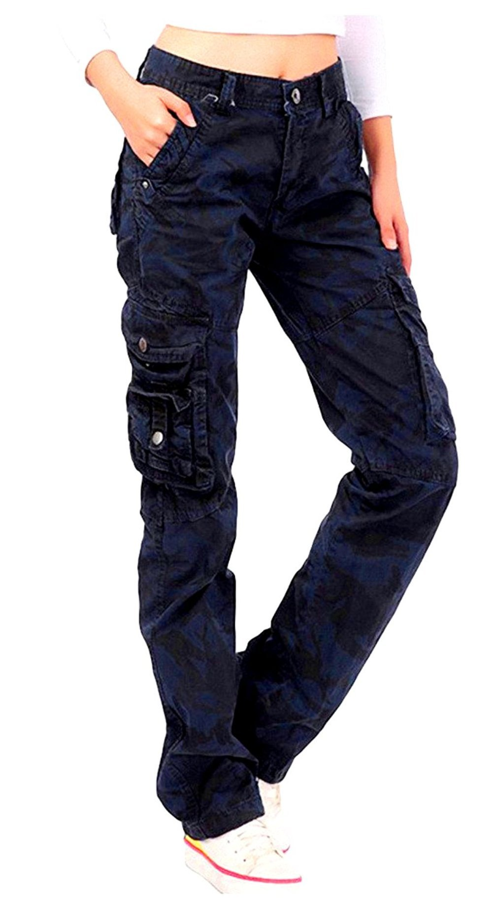 JEANS FOR LOVE Womens Cargo Utility Work Hiking Army Military Multi Pockets Combat Casual Pants (XL, Navy Blue)