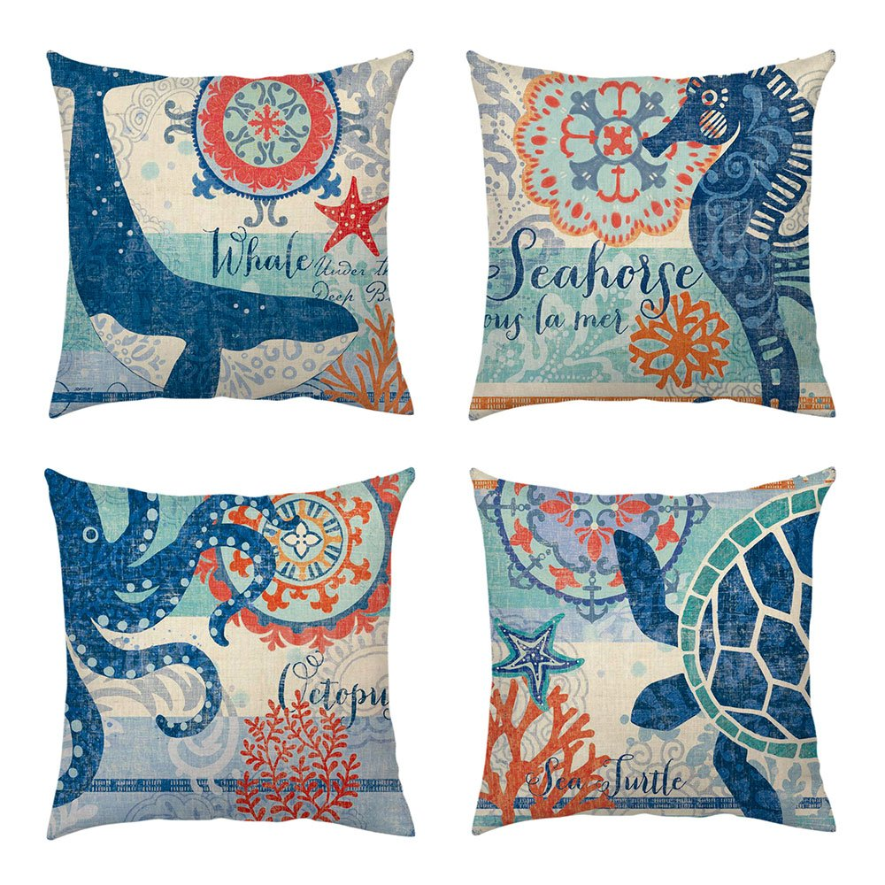 4 Packs Ocean Theme Throw Pillow Cover Marine Life Decorative Pillows Square Cushion Covers Sofa Home Decor Cotton Linen Starfish Seahorse Turtle Octopus Whale 18 X 18 Inch
