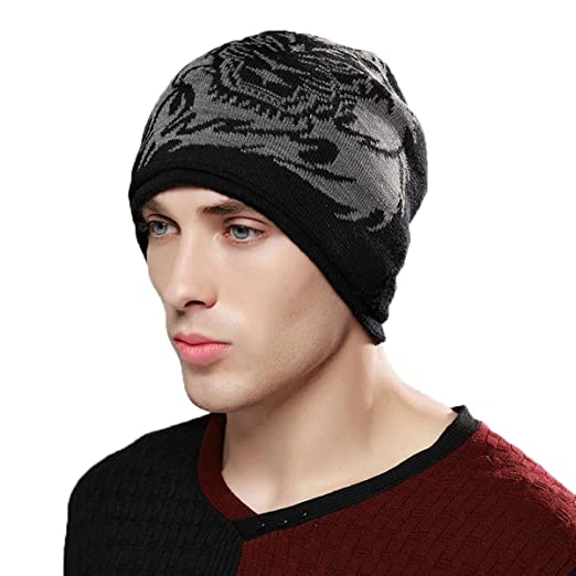 add2907adca Men s Slouchy Beanie Hat with Fleece Lined Winter Warm Tiger Knit Ski Skull  Cap Black