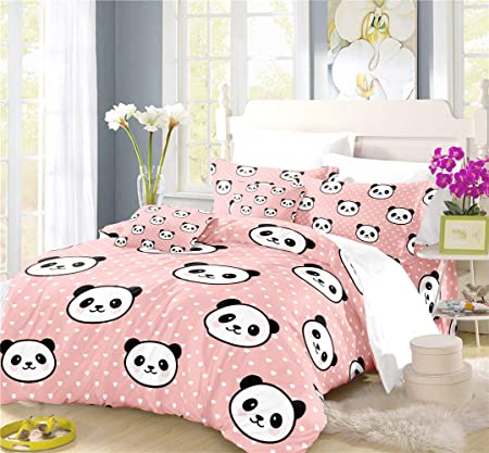 Copripiumino Matrimoniale Cartoni Animati.Nylin Copripiumino Panda Set Biancheria Letto Cartone Animato