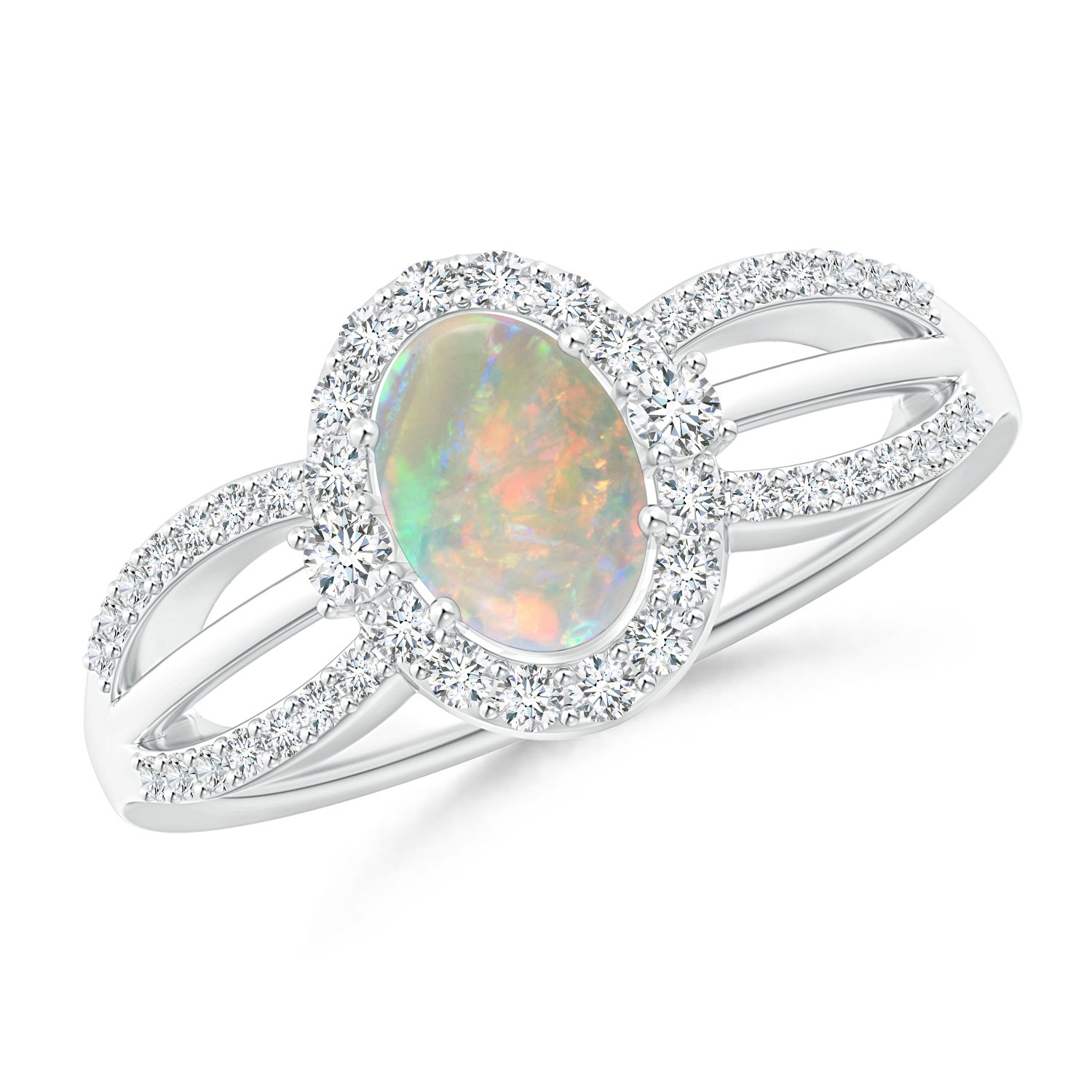 Angara Floating Cabochon Opal and Diamond Halo Antique Style Ring in Platinum JZPXiXiB0y